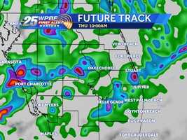 Another round of storms are expected to move across South Florida Thursday. Click through the hour-by-hour forecast to see when you can expect the rain near your area.