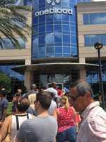 "Sanika Dange reporting from Orlando, Florida.""Long lines at blood bank."""