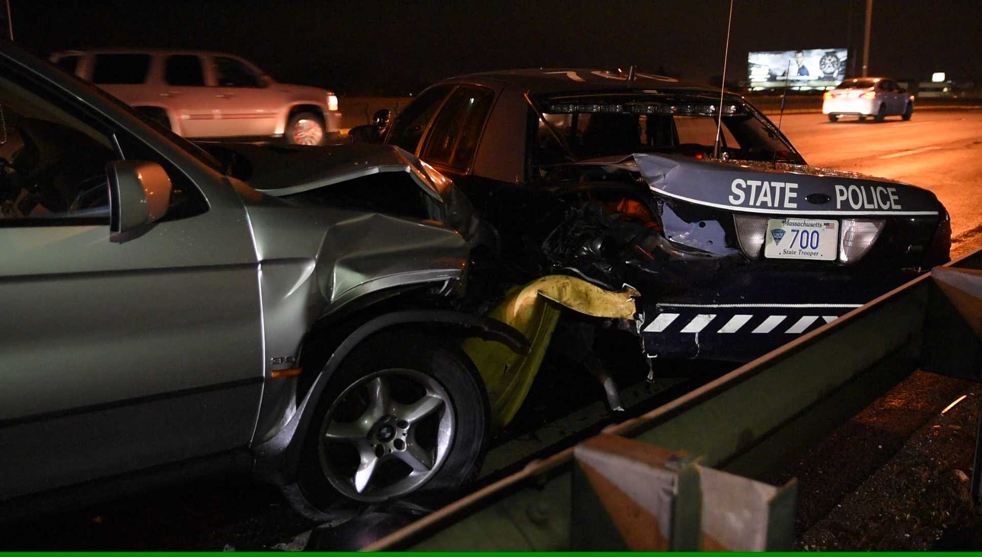 Massachusetts state trooper hurt when cruiser rear-ended
