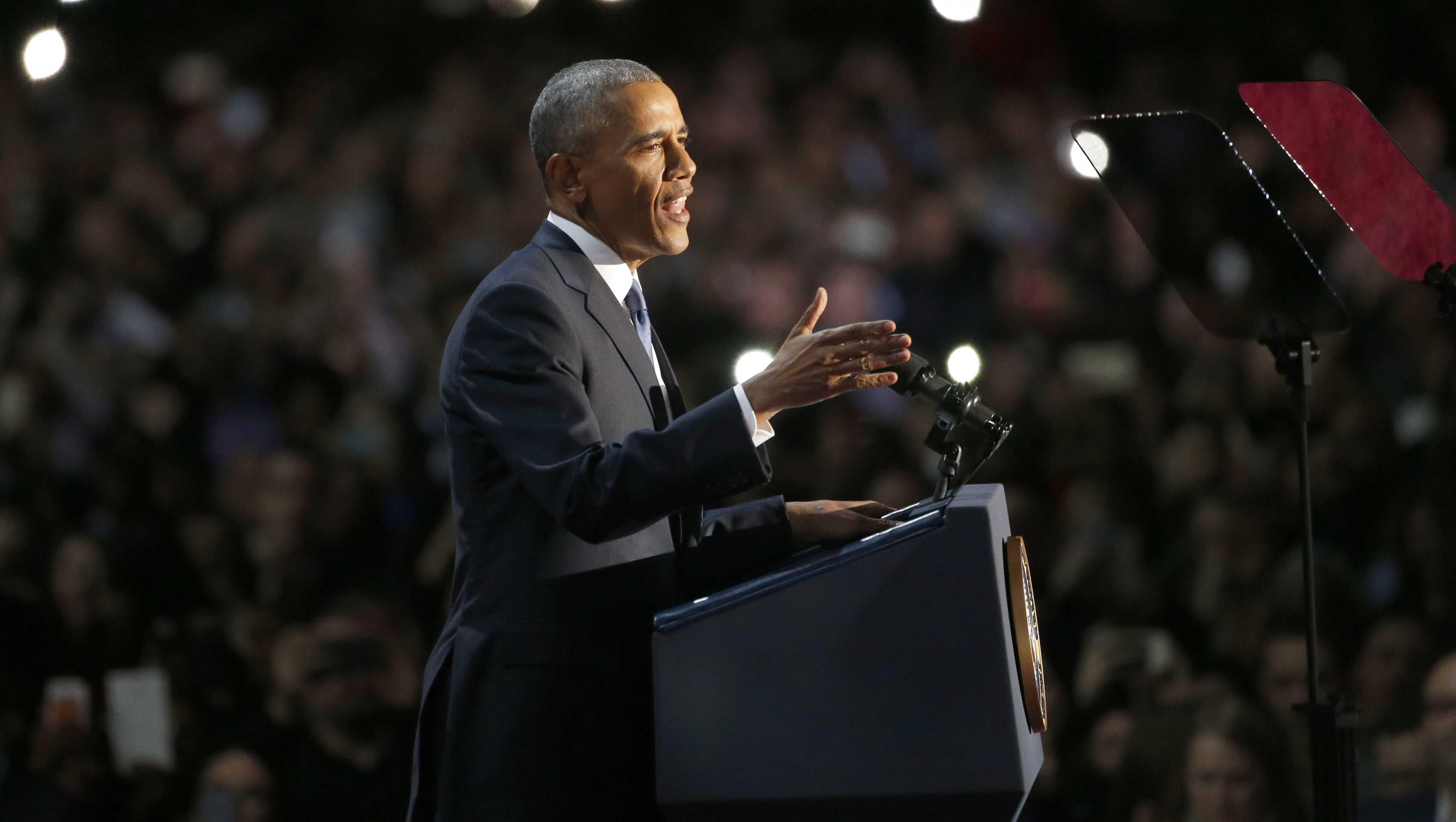 President Barack Obama delivered his farewell address in Chicago.