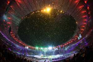 Confetti falls during the closing ceremony in the Maracana stadium at the 2016 Summer Olympics in Rio de Janeiro, Brazil, Sunday, Aug. 21, 2016.