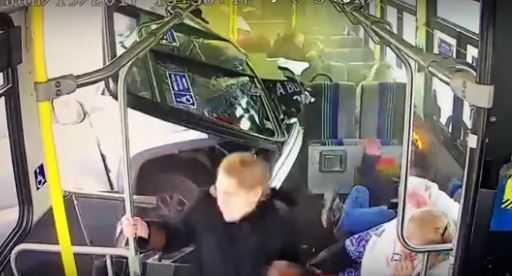 Video shows moment truck smashed through NY transit bus