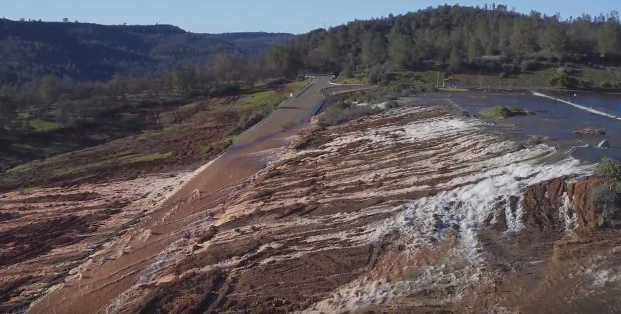 Aerial Footage Shows Water Gushing Down Oroville Dam Spillway