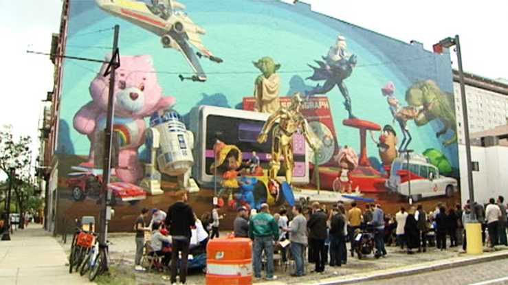 Classic toys featured in new downtown mural for Cincinnatus mural