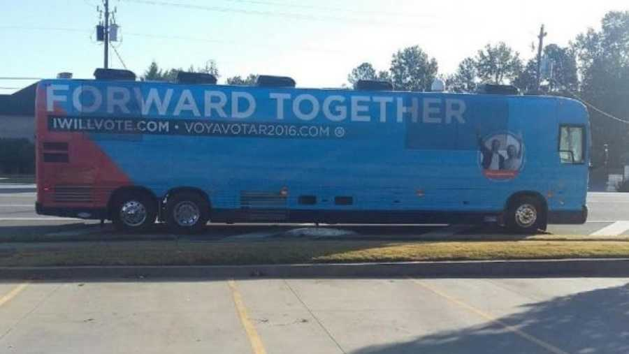 DNC campaign bus in Lawrenceville Georgia