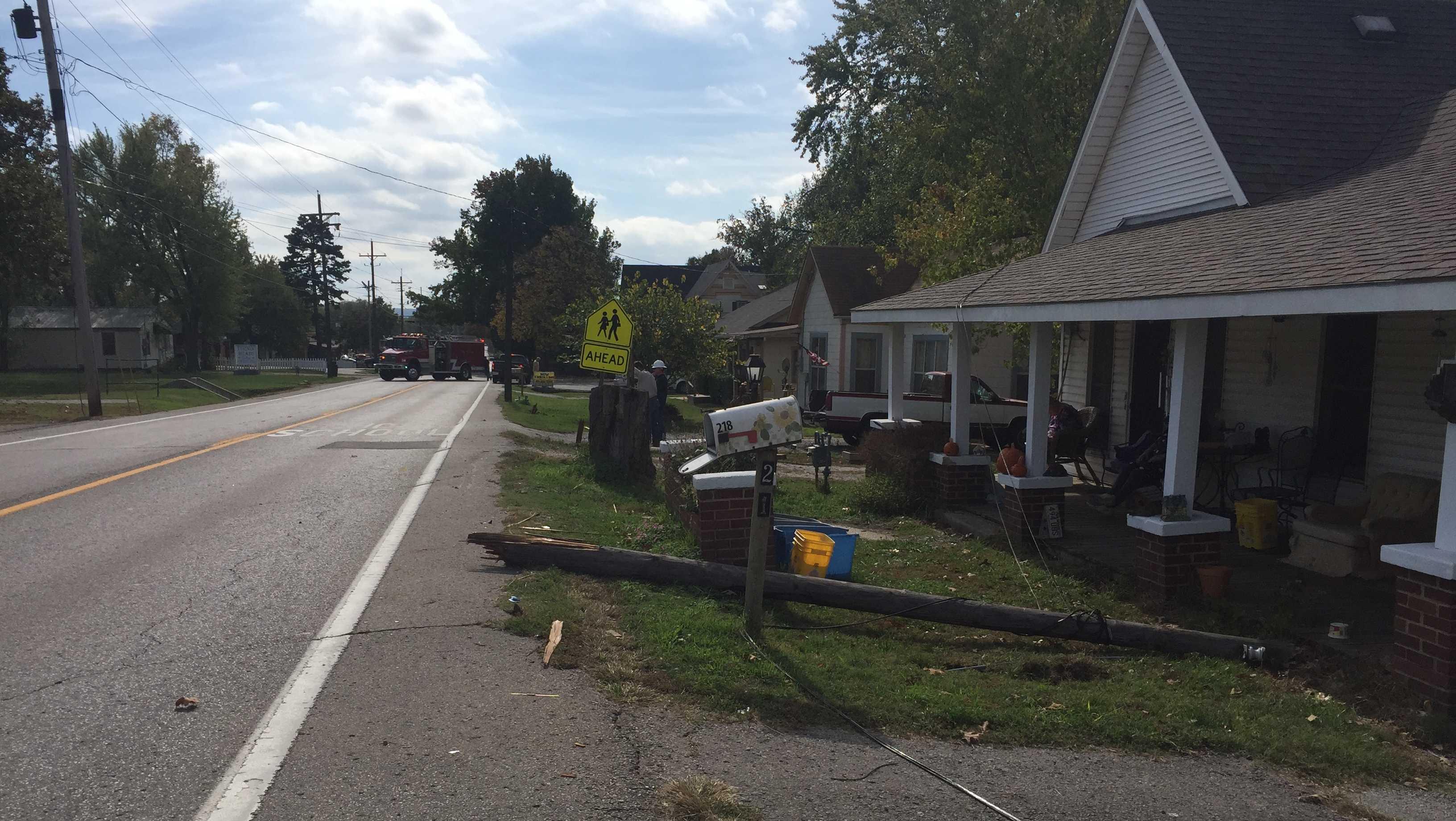 Location where a dump truck hit a power pole on Pittman St. in Prairie Grove