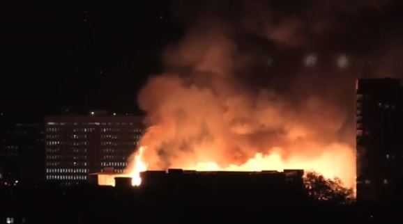 Raw: Five-Alarm Fire in Downtown Raleigh