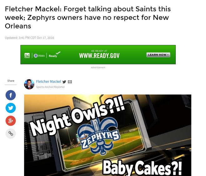Denver Zephyrs: Remember What WDSU Sports Anchor Fletcher Mackel Said