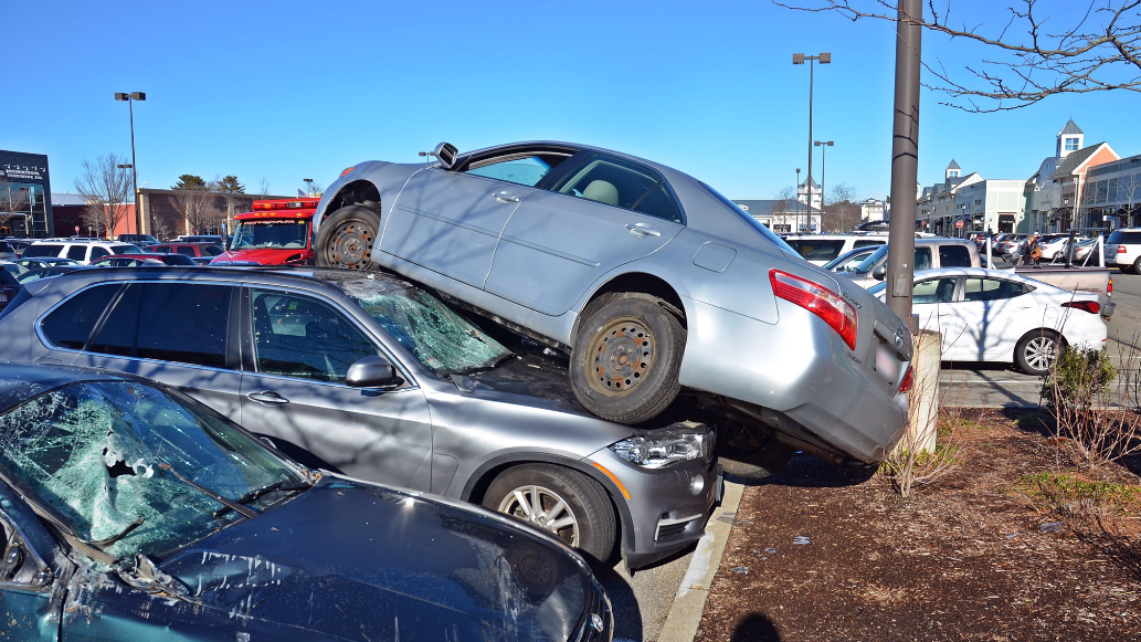 Car Goes Airborne In Busy Hingham Shopping Plaza