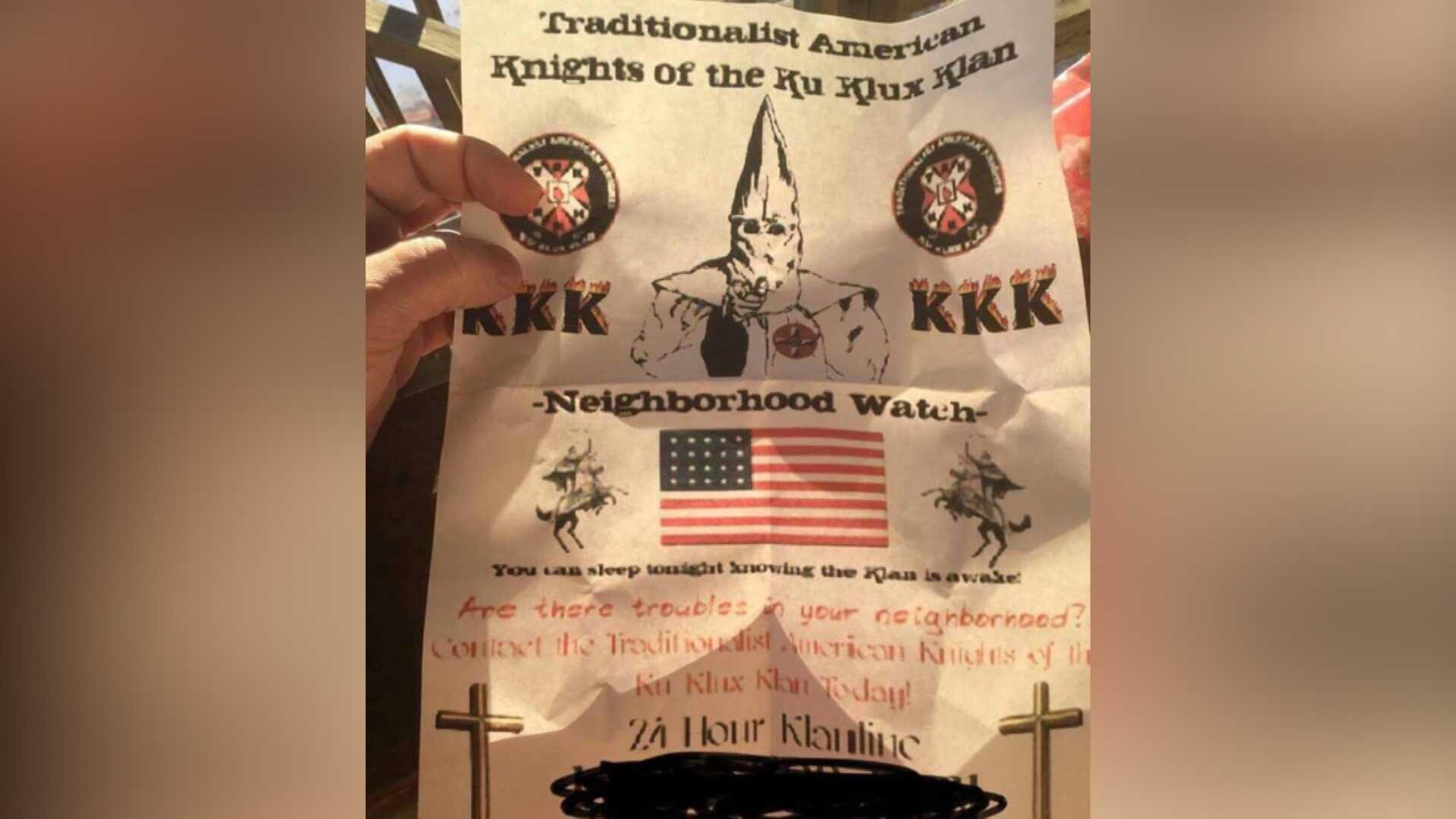 KKK fliers prompt concern for refugees, rebuke from governor