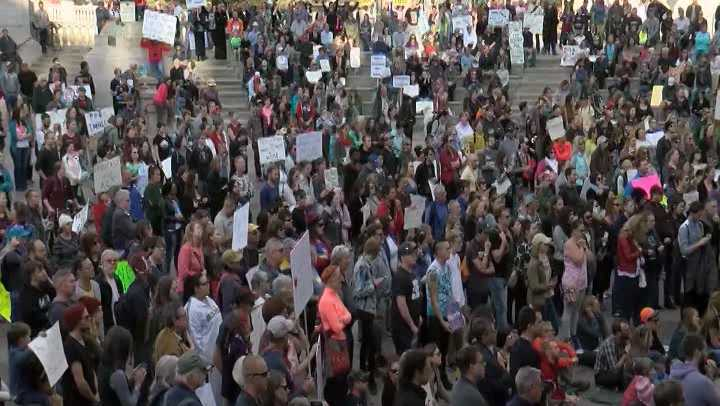North Dakota locked down its state Capitol Building Monday due to a large group of protesters