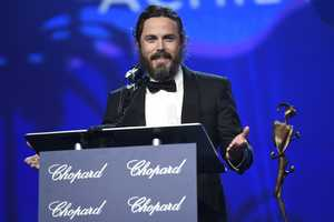 "Casey Affleck accepts the Desert Palm Achievement actor award for ""Manchester by the Sea"" at the 28th annual Palm Springs International Film Festival Awards Gala on Monday, Jan. 2, 2017, in Palm Springs, Calif."