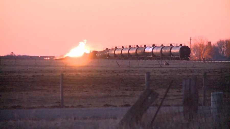 Train derails after ethanol freight haul catches fire