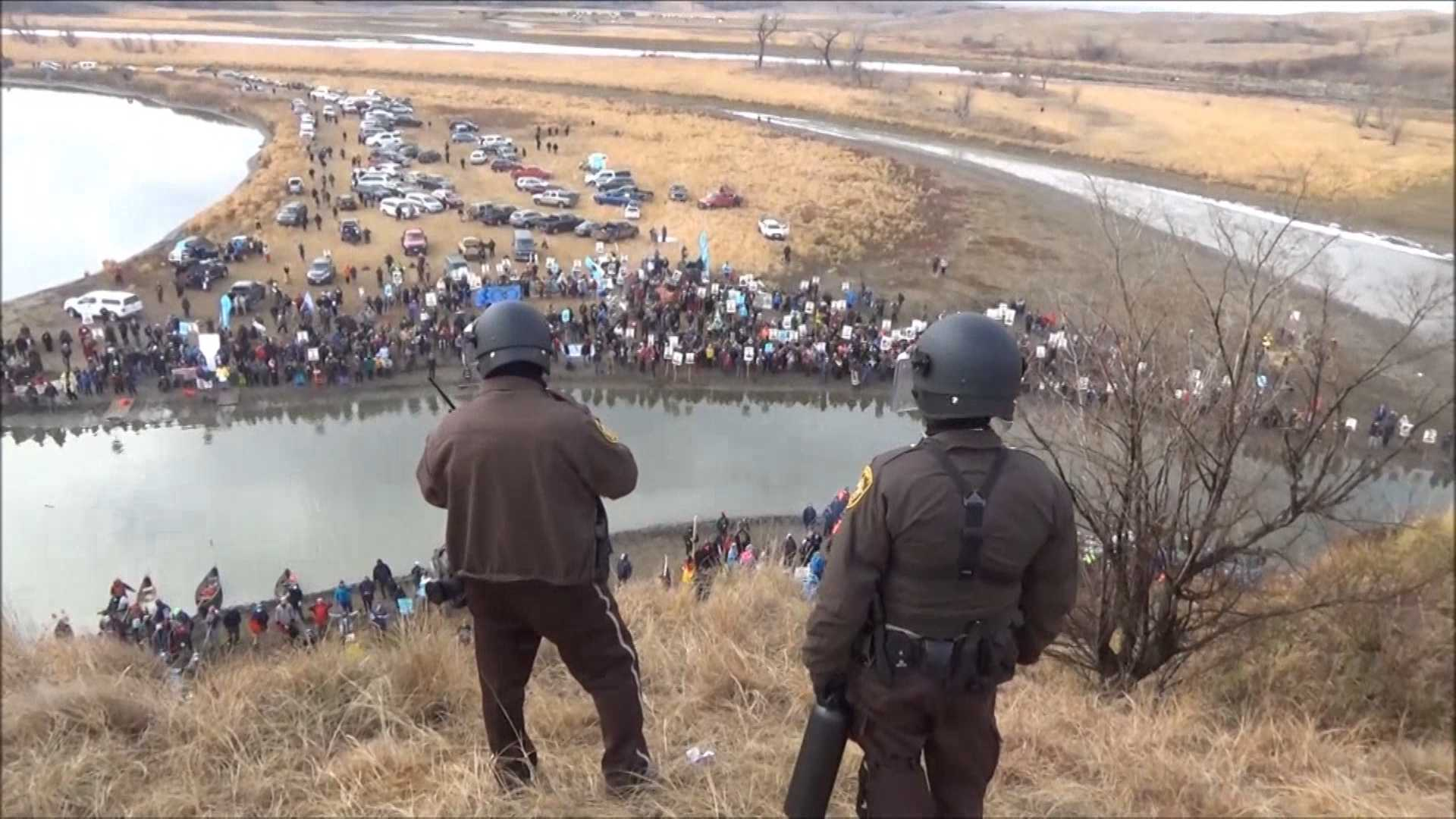 Protesters at the site of the proposed Dakota Access oil pipeline route on Thanksgiving Day, 2016
