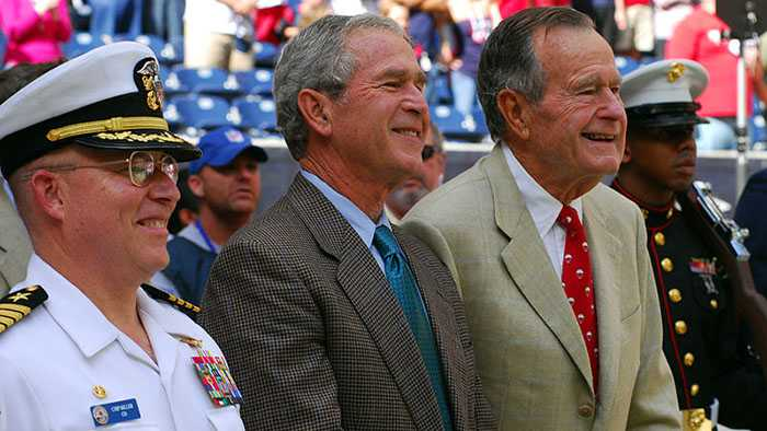 Presidents George W. Bush and George H. W. Bush in Houston in 2009