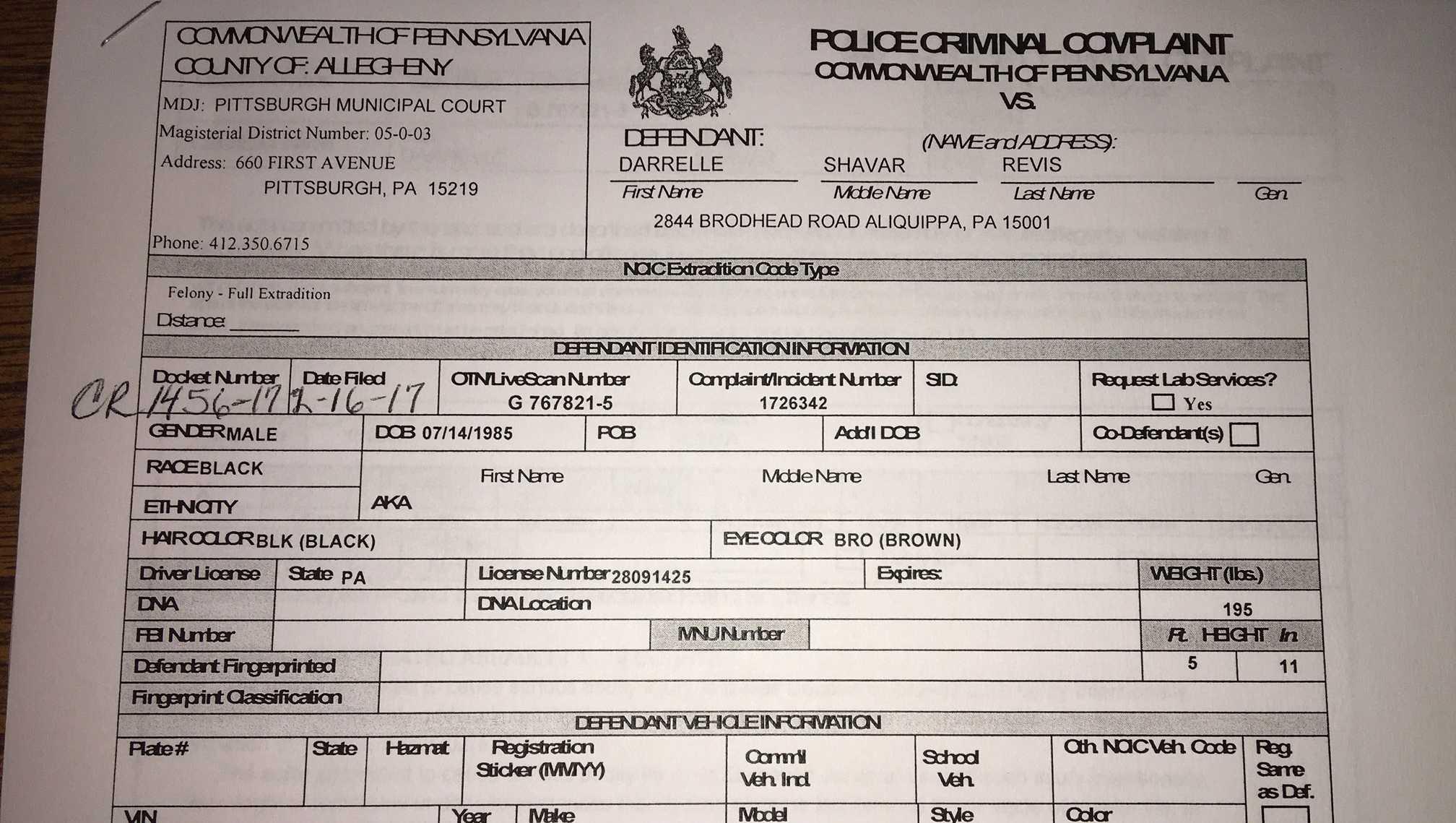 Revis criminal complaint