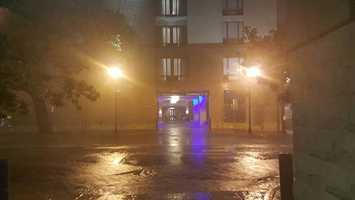 Tropical Storm Hermine brings rain to Bay Street in Savannah early Friday morning.
