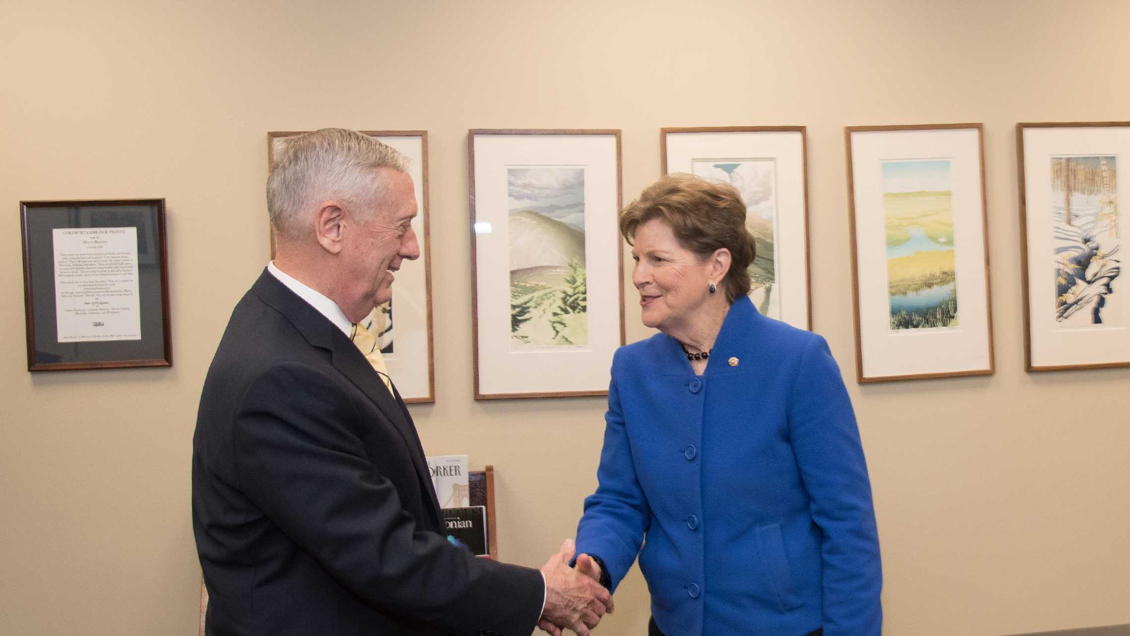 Sen. Jeanne Shaheen meets with Trump Secretary of Defense nominee Gen. James Mattis in her office on Wednesday.