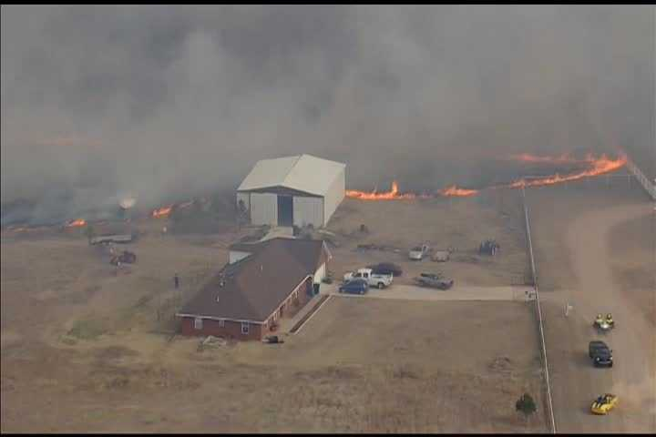 Firefighters in Oklahoma City battling grass fire