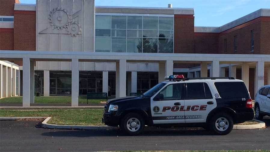 Police vehicle parked in front of York Vo-Tech