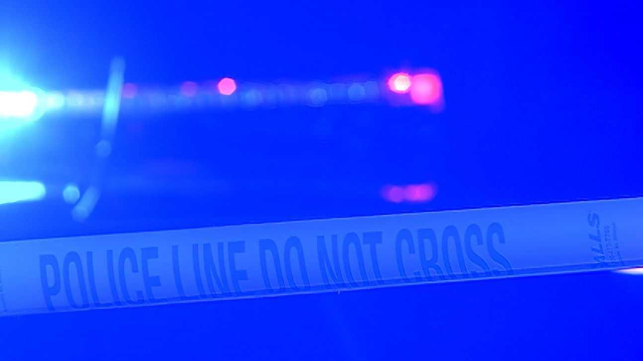 (night) Crime tape, blue police lights generic