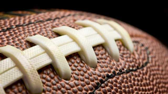 closeup of football laces