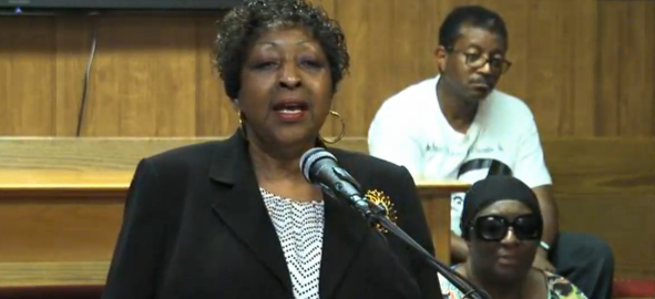 Edna Jackson speaks at a press conference in early 2015.