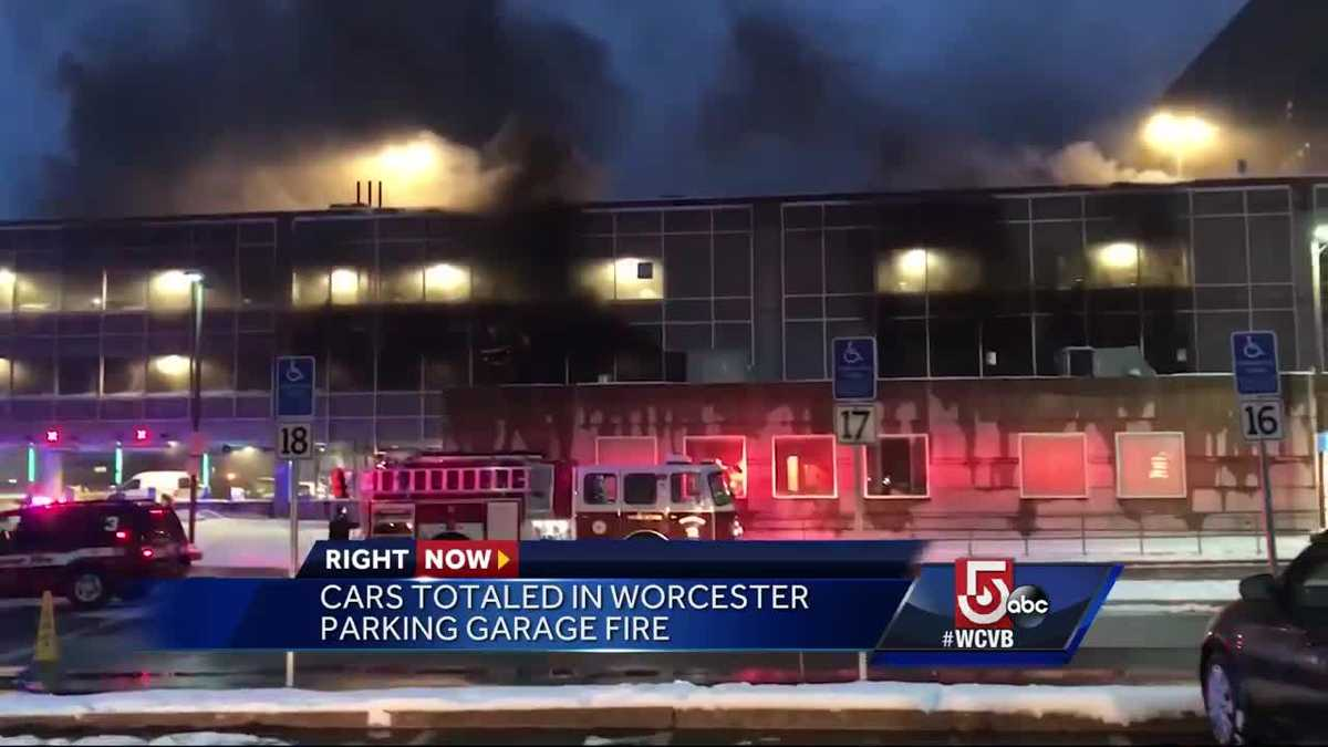 Cars totaled in hospital parking garage fire