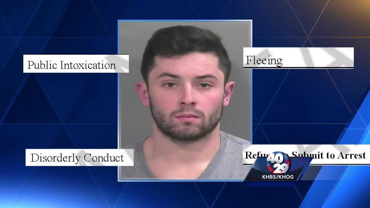 Baker Mayfield >> OU Quarterback Baker Mayfield was arrested in Fayetteville