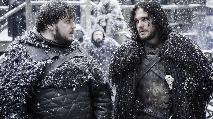 Jon Snow and Samwell Tarly on Game of Thrones