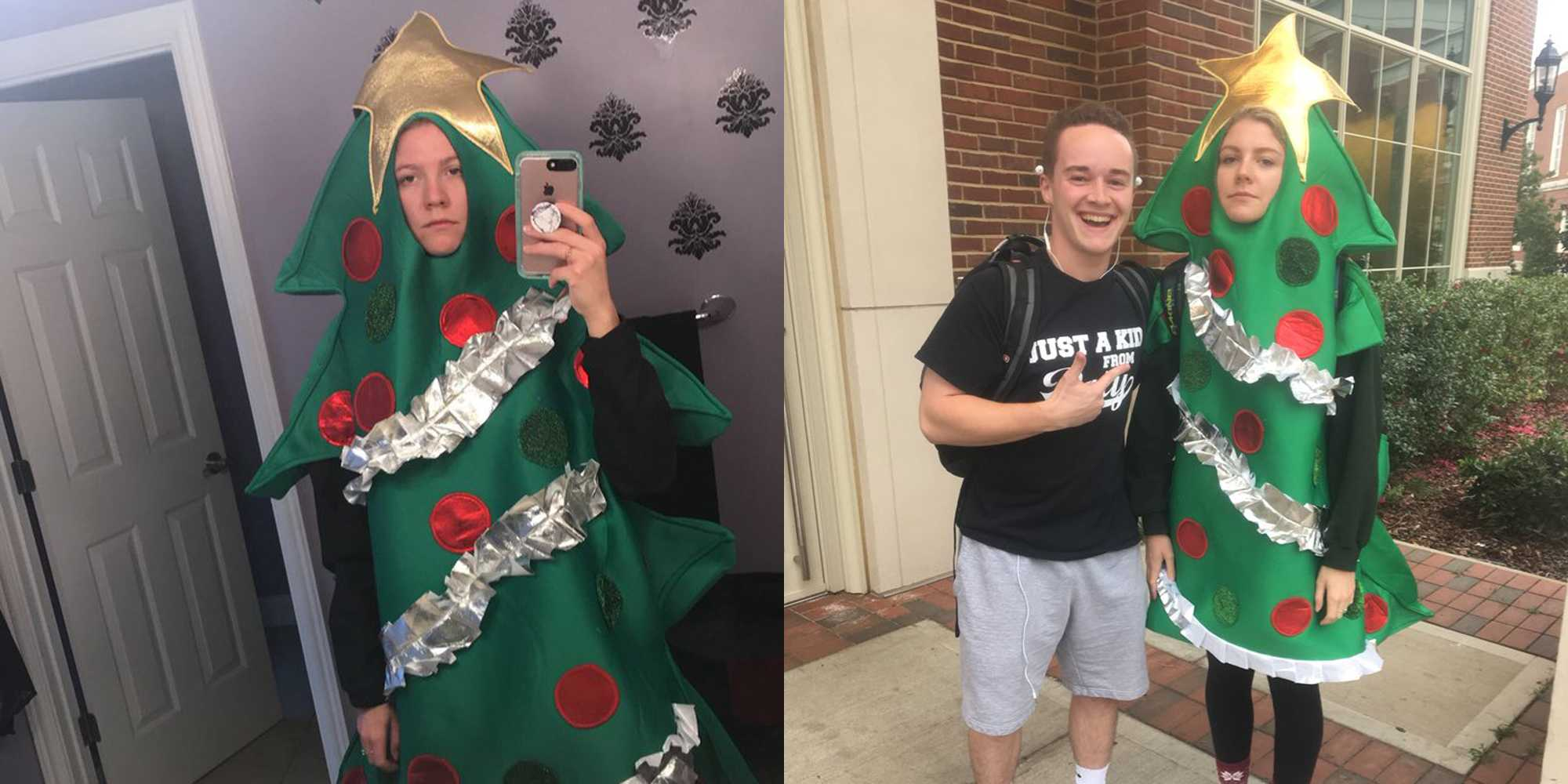 This College Student Has to Wear a Christmas Tree Costume for the Rest of the Semester