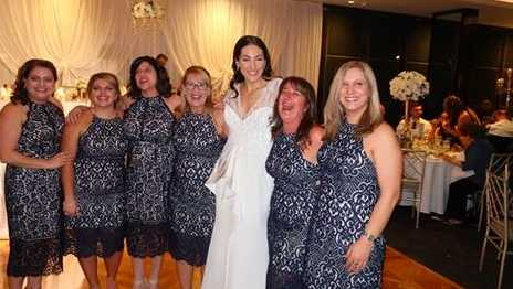 same dress, wedding, Facebook, guests