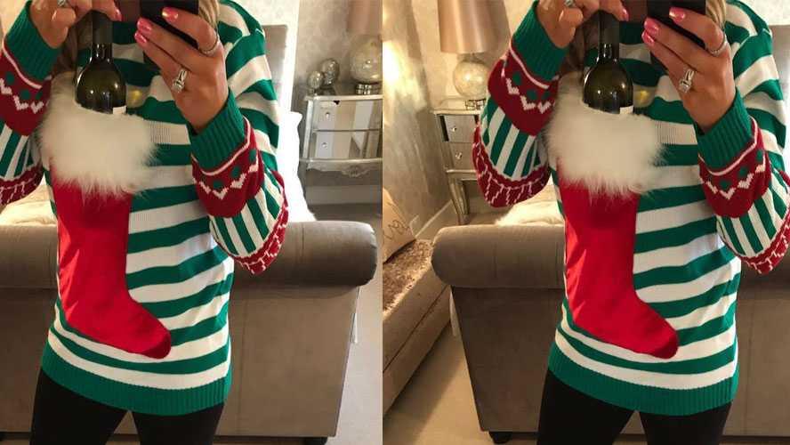 wine pocket christmas jumper