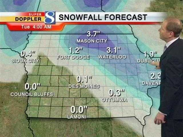 Latest predicted snow totals Monday.