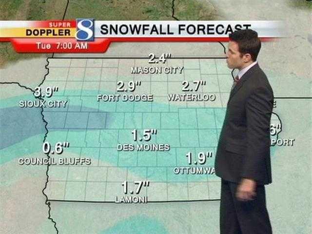 Forecast snow totals Monday.