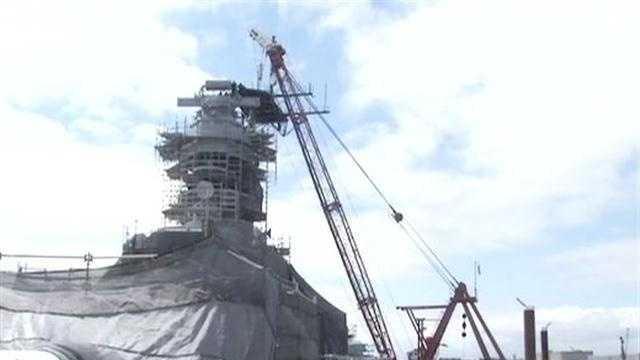 The USS Iowa battleship reached an important milestone on Monday.