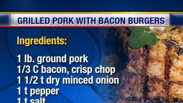Chef Terrie makes grilled pork with bacon burgers.