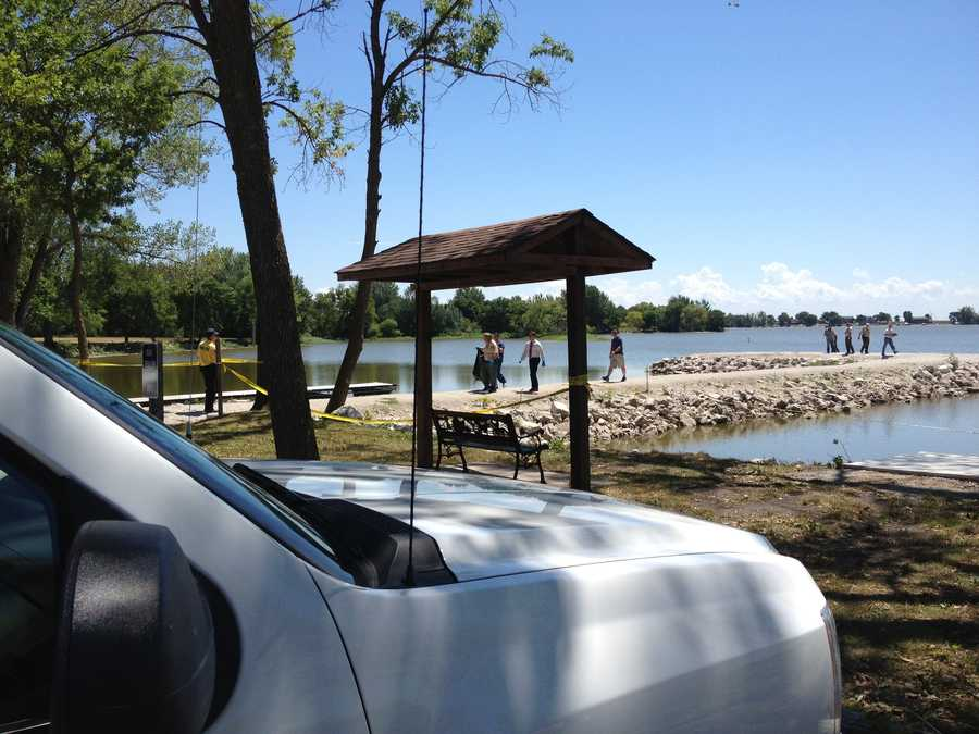 The lake is searched for evidence in the case.