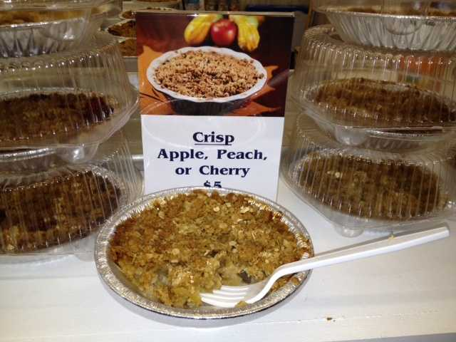 The fruit crisp is just like grandma made! Fresh fruit from Iowa orchards!