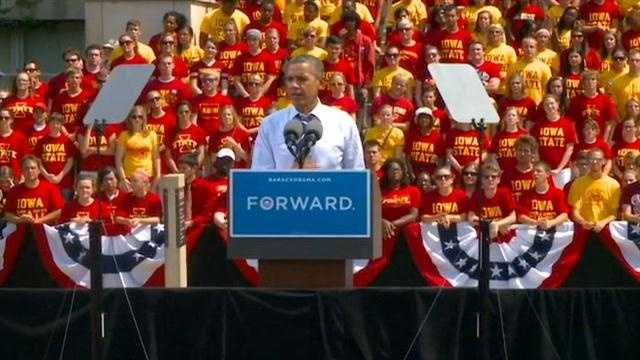 6,000 students attend a campaign event for Barack Obama at Iowa State University.  KCCI reporter Angie Hunt has more.