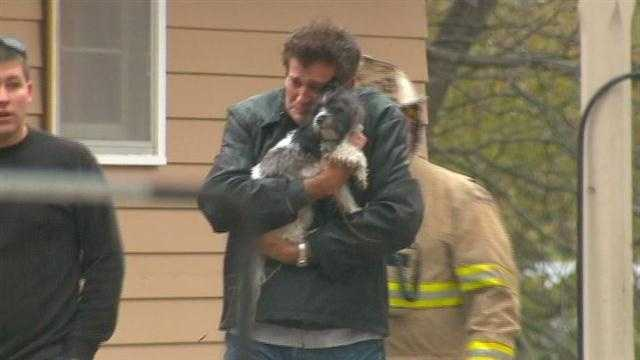 Dave Vander Ecken and his dog Jeda reunited after a fire.