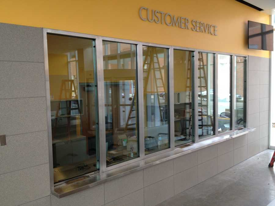Customer service area that will be staffed to buy passes, etc.