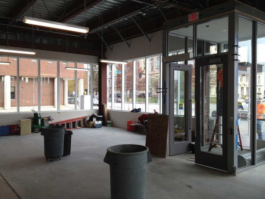 Inside Dart Central Station. This is a future spot for a restaurant or coffee shop.