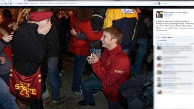 An Iowa State proposal goes viral, all to the surprise of the couple.