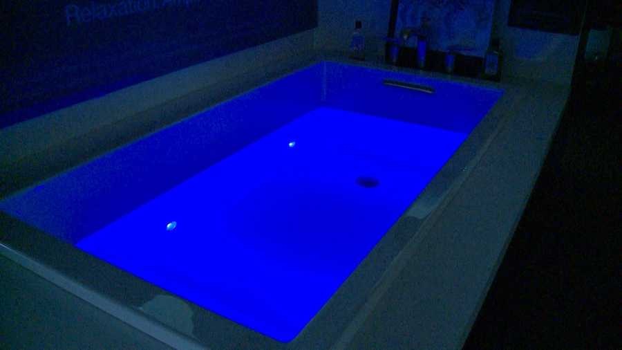 Like tunes in the tub? The VibrAcoustic Tub lets you literally soak in the sound. Unlike a Whirlpool with loud jets, it has speakers behind the tub walls.The touch screen allows you to turn on the chromatherapy lights and select a song from your smart phone. You hear the music and feel the vibrations. The tub will set you back $4,260.