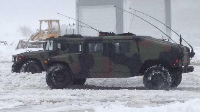 Snow national guard humvee