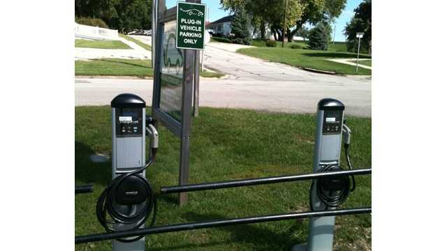 An electric car charging station in Elkhorn, Iowa.