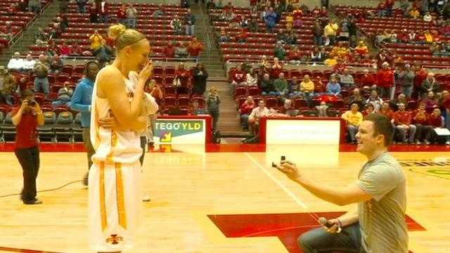 Watch as an Iowa State University basketball player receives a proposal on the court.