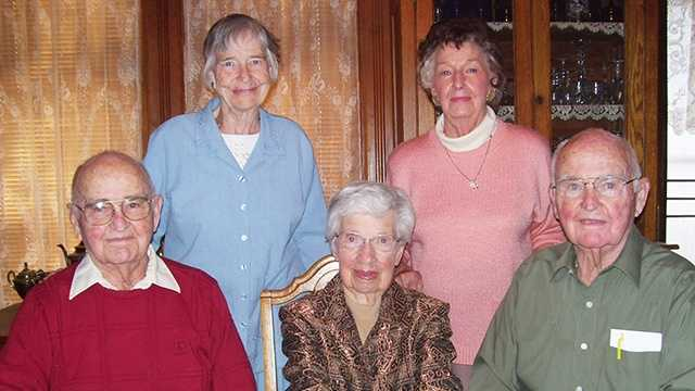 From the left, front row:  Cleo Hawthorne and his wife, Leola, and Clifford Hawthorne.  Back row: the men's sisters, Linda Key of Atlantic and Mickey Tallman of Lincoln.