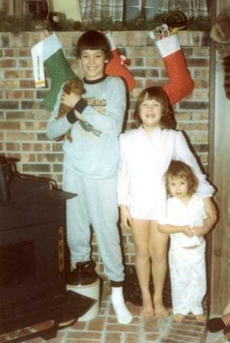 Christopher (11), Sarah (8), and Betsy (2) - Christmas 1983